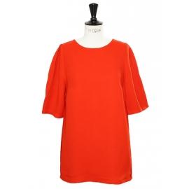 Top blouse manches courtes dos boutonné rouge coquelicot Prix boutique 430€ Taille 40