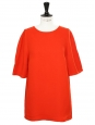 Poppy red short sleeved back buttoned blouse top Retail price €430 Size 38