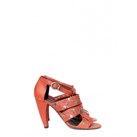 Multi-strap red leather and silver studs heeled sandals Retail price €600 Size 37