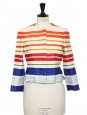 Multicolor striped silk and cotton cinched cropped jacket Retail price €1400 Size 36