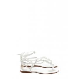 Sandales plates en cuir blanc lacées aux chevilles NEUVES Prix boutique 700€ Taille 38