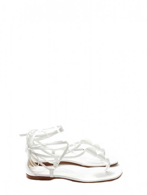 White leather embellished flat sandals with laces at ankles NEW Retail price €700 Size 38