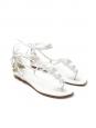 Sandales plates en cuir blanc à ornements NEUVES Px boutique 700€ Taille 38