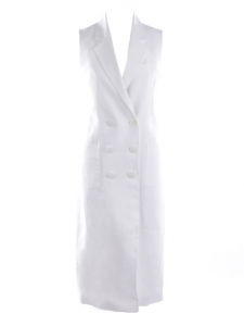 Marrakech double-breasted white linen vest dress Retail price €980 Size M