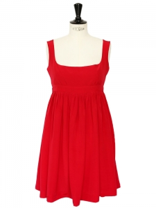 Red silk décolleté with large straps babydoll dress Retail price $1300 Size 38