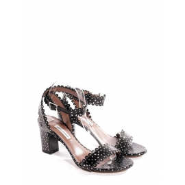 LETICIA Black scalloped-leather block heel sandals Retail price €625 Size 36.5