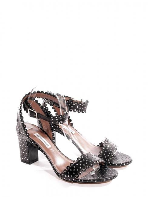 Sandales à talon LETICIA en cuir fleuri noir Prix boutique 625€ Taille 36,5