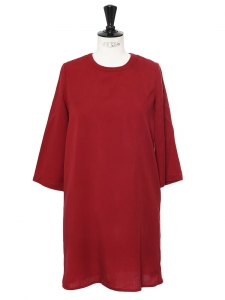 Burgundy red straight cut long sleeves round neck dress Size S