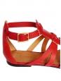 Sandales NEUVES gladiators plates en cuir rouge Px boutique 475€ Taille 36,5