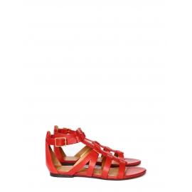 Sandales gladiators plates en cuir rouge NEUVES Prix boutique 475€ Taille 36,5