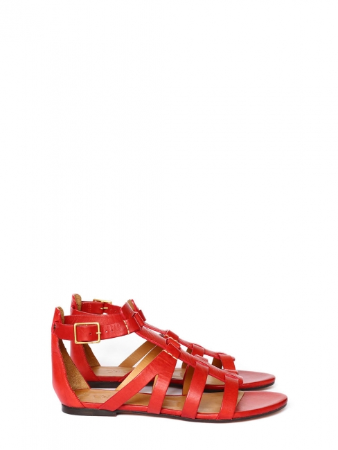 Bright red leather multi-strap gladiator sandals NEW Retail price €475 Size 36.5