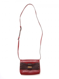 JUNE burgundy and cherry red leather long strap mini bag