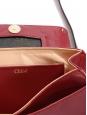 Mini sac JUNE à bandoulière en cuir rouge cerise et bordeaux studs dorés