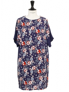 Navy blue short sleeves dress printed with red and white Hibiscus flowers Size 36