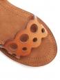Sandales plates à bride cheville en cuir vegan camel Prix boutique $715 Taille 37,5