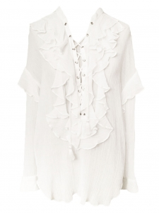 CHLOE Long sleeves ruffled lace-up cotton-gauze romantic blouse Retail price €1200 Size 36