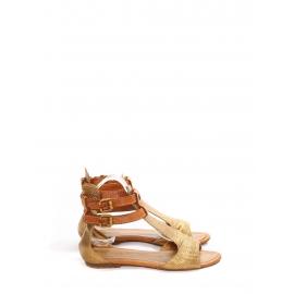Sandales plates bout ouvert en cuir embossé doré et caramel Px boutique 480€ Taille 36