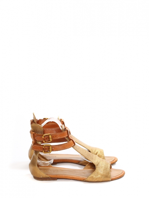Copper gold embossed leather flat sandals Retail price €480 Size 36