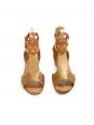 Sandales plates bout ouvert en cuir embossé doré et caramel Px boutique 480€ NEUVES Taille 36
