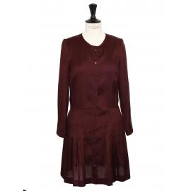 Burgundy red silk long sleeves dress Retail price €500 Size 36
