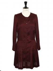 Burgundy red silk long sleeves dress Retail price €500 Size 36