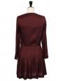 Robe courte manches longues en soie rouge bordeaux Prix boutique 500€ Taille 36
