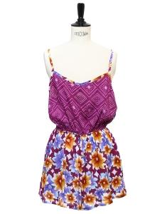 Combi-short dos nu à fines bretelles imprimé bordeaux violet et jaune Taille 36