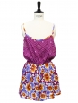 Purple, burgundy and yellow floral print open back playsuit with thin straps Size 36