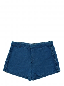Blue jean thin cotton denim braided mini shorts Retail price €100 Size 36