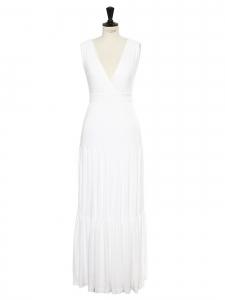 Robe longue décolleté V cintrée en modal blanc Prix boutique $470 Taille 40