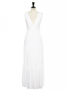 White modal cinched maxi dress with deep V décolleté Retail price $470 Size 40