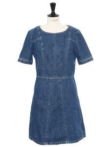 Denim blue cotton and linen short sleeves dress Retail price €750 Size 36
