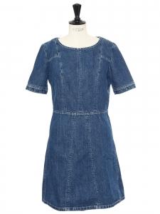 Robe manches courtes en lin et coton jean bleu denim brut Px boutique 750€ Taille 36