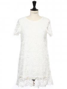Petite robe manches courtes en dentelle fleurie blanche blanche Taille 36