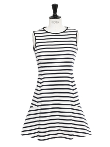 NIKAY Navy blue and ivory white Breton striped dress Retail price €240 Size S