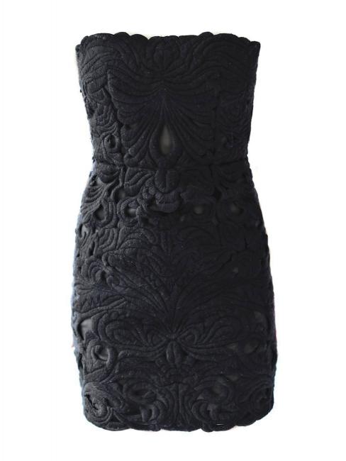 Black cut-out strapless mini dress Retail price 2360€ Size XS