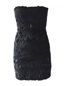 Black wool cut-out strapless mini dress Retail price 2360€ Size XS