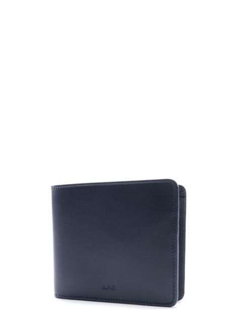 Portefeuille compact en cuir bleu marine Prix boutique 150€