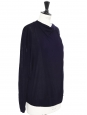 Round neck thin wool navy blue sweater with buttons Size M