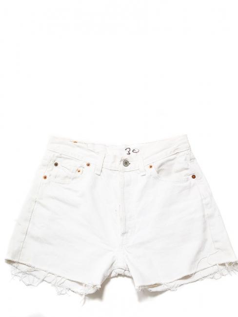 LEVI'S 501 Washed white denim frayed shorts Size 36