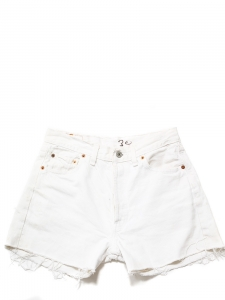 LEVI'S 501 Washed white denim frayed shorts Size 36
