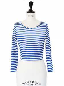 Blue white striped long sleeves cropped top Retail price €90 Size 34