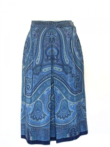 Blue scarf printed silk high waisted A-line skirt Size XS