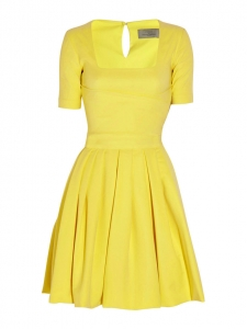 Sunny yellow stretch jersey square neckline dress Retail price €1150 Size 36