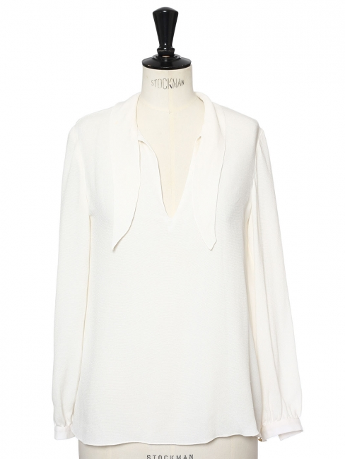 Long sleeves cream white silk blouse Retail price €350 Size 36