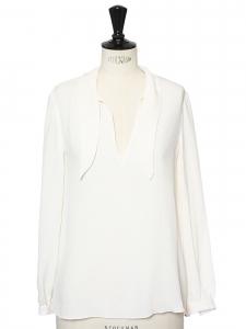 Chemise manches longues en soie blanc crème Prix boutique 350€ Taille 36
