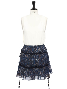 Jupe bohème courte en soie bleu nuit imprimée fleuri Prix boutique 360€ Taille 36