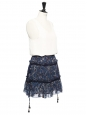 Floral print navy blue silk ruffled bohemian skirt Retail price €360 Size 36