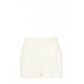 High waist white pleated crepe shorts Retail price €490 Size 34