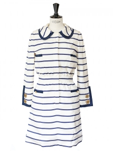 Marine white and blue striped long sleeves dress Size 40